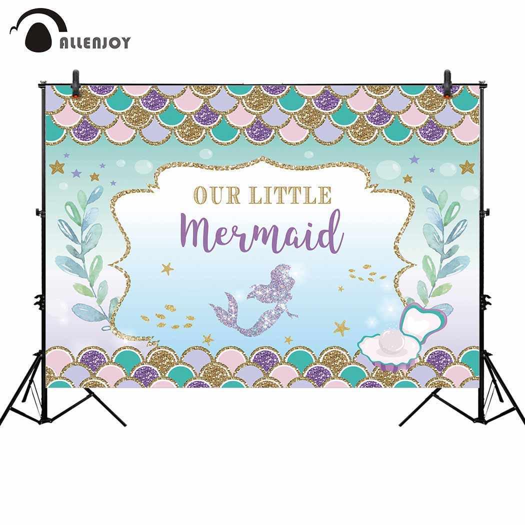 Allenjoy mermaid birthday princess backdrop glitter fish scale seabed background photo studio party photocall photobooth custom