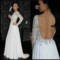 Sexy Traseira Aberta Vestidos de Baile 2016 O-Neck Beading Cristal a line chiffon mulheres caftan árabe muçulmano evening partido vestido formal