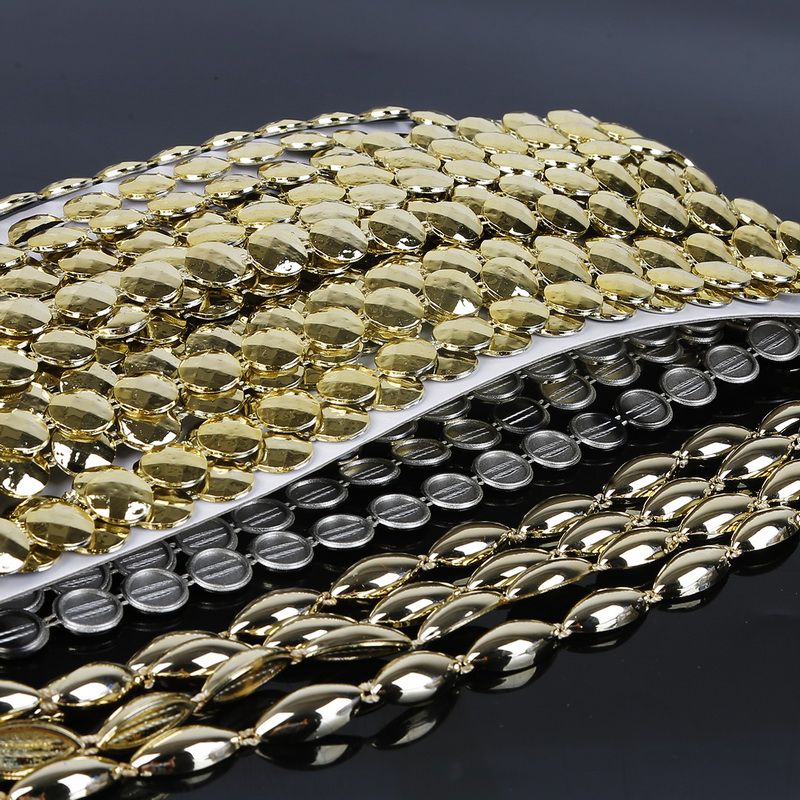 Wholesale Hot Fashion 2Yard/Strip Light Gold Plastic Base Cup Rhinestone Chain Apparel Sewing Style DIY Beauty Accessories