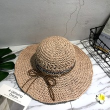 Lady Boater sun caps Ribbon Round Top Straw beach hat Panama Hat summer hats for women straw snapback gorras MD1801