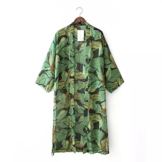 Women Kimono Cardigan Chiffon Blouse Casual Long Floral Green ...