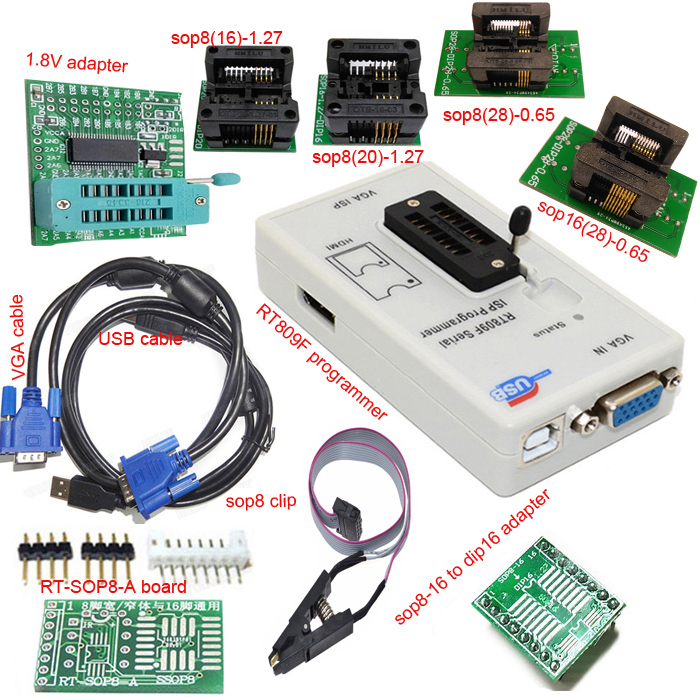Free shipping RT809F programmer+ 4 test socket +1.8V adapter +TSSOP8/16 to dip 16 sop8 clip VGA LCD original programmer free shipping 20pcs lot l5972 l5972d l5972d013tr sop8 buck regulator new original