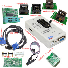 Free shipping RT809F programmer+ 4 test socket +1.8V adapter +TSSOP8/16 to dip 16 sop8 clip VGA LCD original programmer double row 16 pin dip to 8 sop socket programer adapter