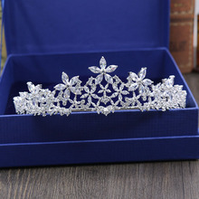 New Fashion elegant Paved crystal Crown Cubic Zircon flowers Tiaras Wedding bride banquet dressing Hair Jewelry free shipping