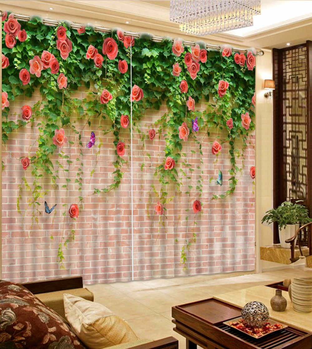 Us 49 2 59 Off European Printing Curtains Living Room Rose Vine Romantic Window Curtains Blackout For Hotel Home Wall Drapes In Curtains From Home