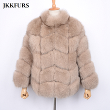 Womens Chunky Coat Natural Fox Fur Jacket Winter Thick Warm Genuine Real Fashion Luxury Style Top Quality S7498