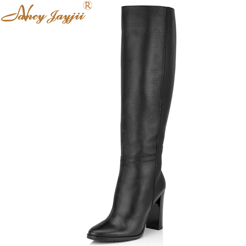 Nancyjayjii Schwarz & Grau Wildleder Leder Runde Zehen High Heels Kniehohe Stiefel Mode Winterschuhe Kleid & Party Large Size 5-16.