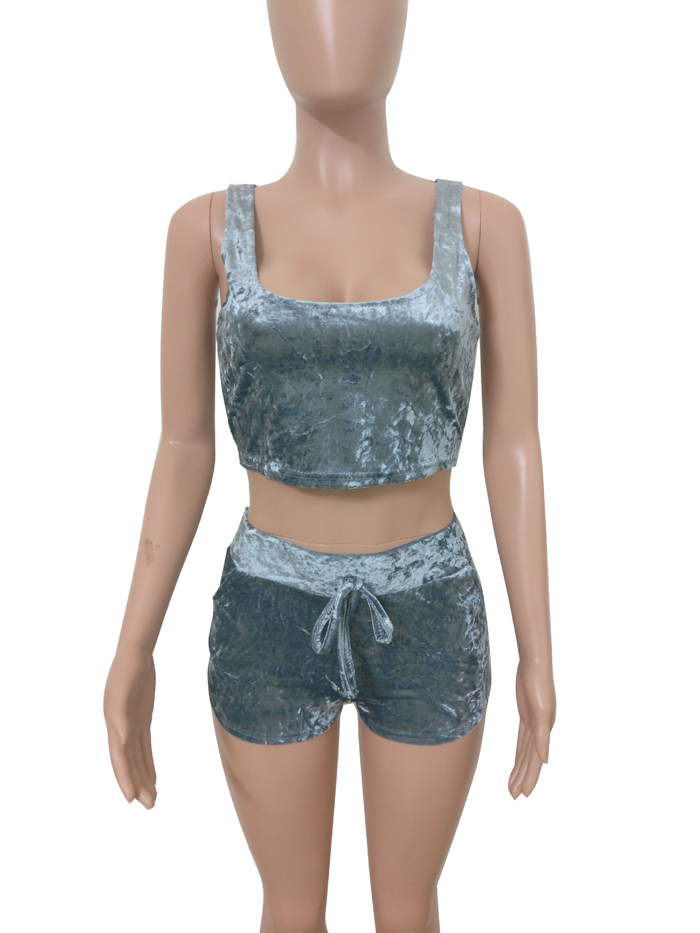 fa1c120da7 Szykowny Short Jumpsuit Women Gray Pin Up Two Piece Playsuit Women Summer  Velvet Overalls Tank Top + Short Macacao Combishort-in Rompers from Women s  ...