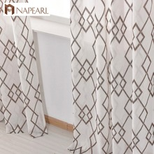 ФОТО modern geometric faux linen curtain semi-sheer jacquard curtain panel drop european style ready made kitchen curtain short door