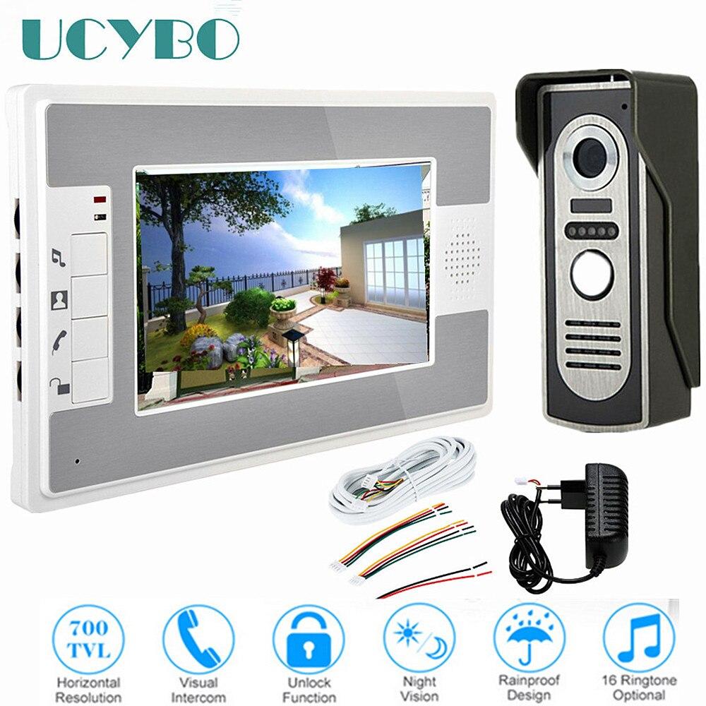 7 video intercom system doorbell night vision IR 700tvl door camera waterproof unlock for home apartment video door phone