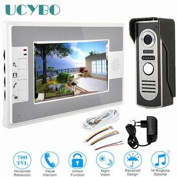 """7"""" Video Intercom System Doorbell Night Vision IR 700tvl Door Camera Waterproof Unlock For Home Apartment Video Door Phone"""