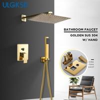 ULGKSD Shower Faucet Gold Stainless Steel Shower Head Wall Mount W/ Hand Shower Para Bathroom Shower Mixer Water Tap