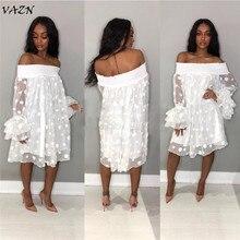 VAZN 2018 New Arrive Famous Sexy Style Women Dress Solid Slash Neck Lace Petal Sleeve Bodycon Mini Dress Vestido TS829