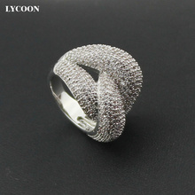 LYCOON elegant knot style Irregular rings silver plated luxury prong setting white Cubic Zirconia for women
