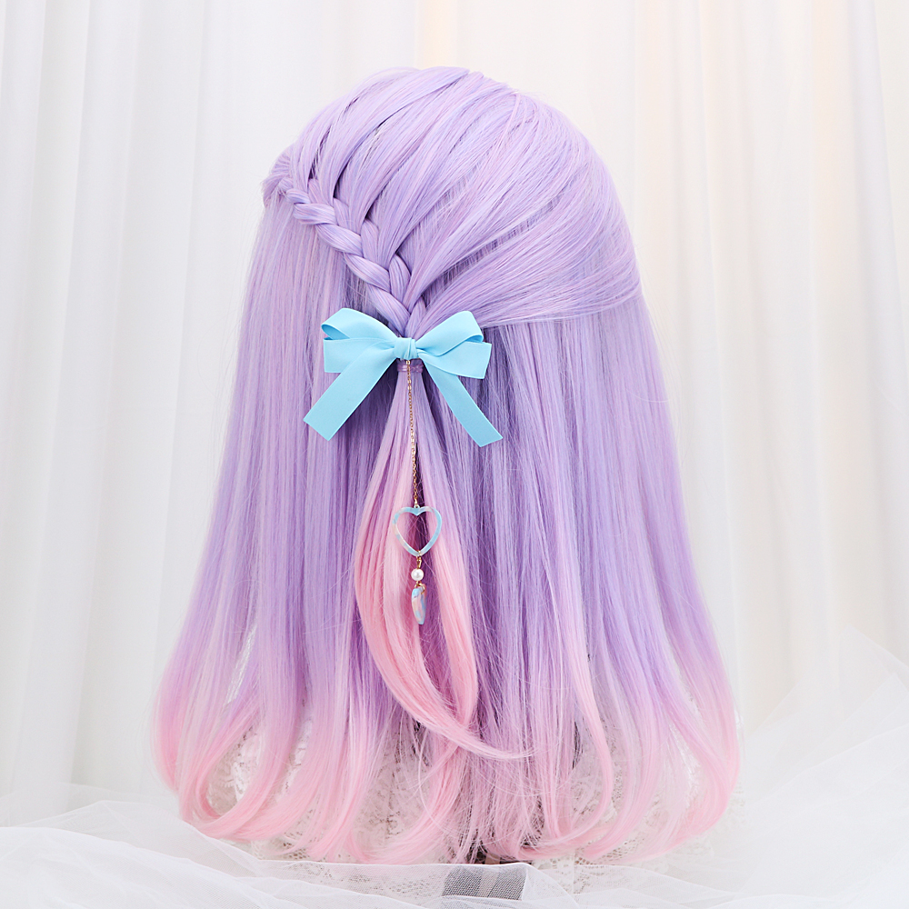 16 39 39 Synthetic Straight Lolita Wigs With Bangs Purple Pink Ombre Long Hair Harajuku Lolita Wigs Headband For Women Heat Resistant in Synthetic None Lace Wigs from Hair Extensions amp Wigs