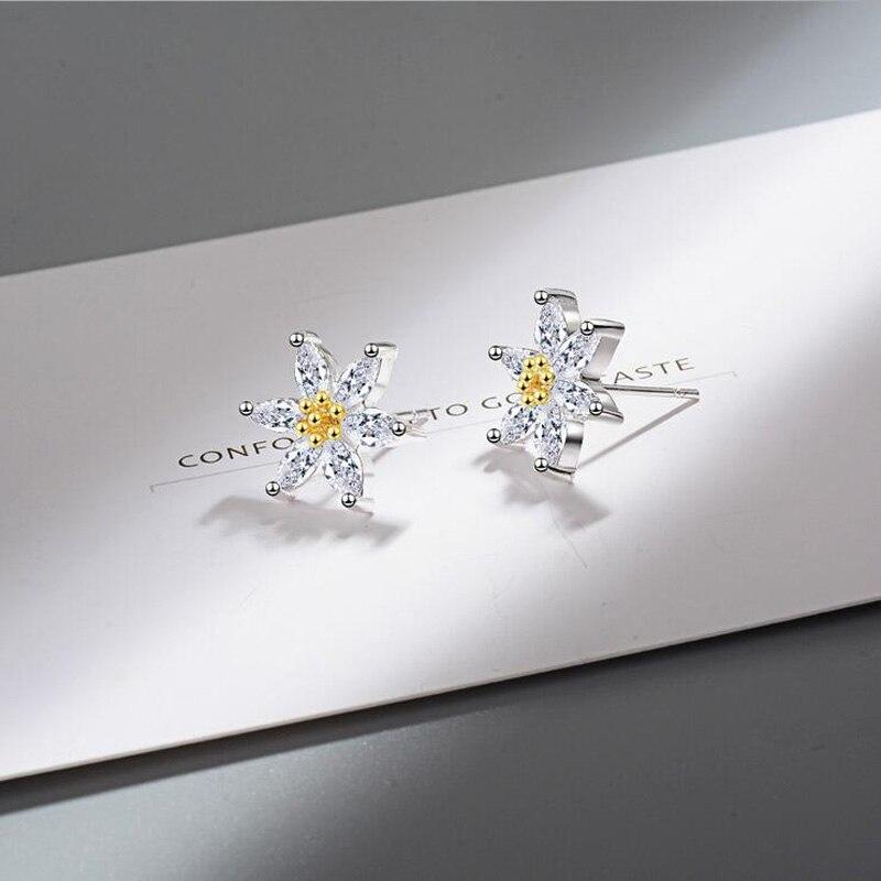 Fashion 925 Sterling Silver Clear Crystal Cute Flower Daisy Stud Earring For Kids Children Girls Women Earring Gift Jewelry in Stud Earrings from Jewelry Accessories