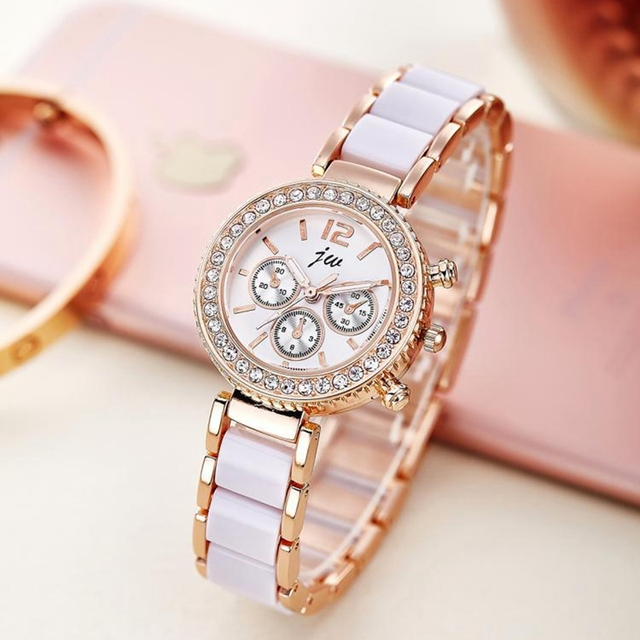 Imitation Ceramics Gold Bracelet Watch Women Rhinestone Watches Women Elegant Qu