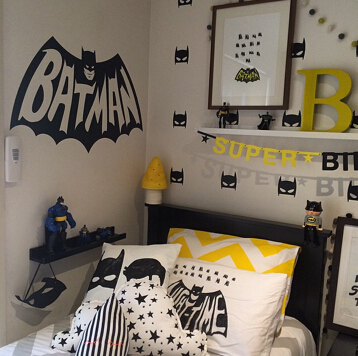 cool batman pattern kids room wall sticker easily removable pvc rh aliexpress com Batman Bedrooms for Boys batman kids room ideas