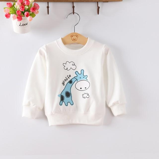 Apepezpy New Girls Sweatshirts Children's Hoodies Cotton Giraffe Long Sleeve Boy Clothing Jacket T Shirt Tops Tee Yellow