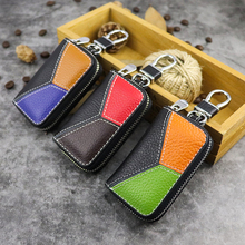 купить Hot Sale Car Key Pouch Genuine Leather Key Holder Wallets Household Key Housekeeper Organizer Bag Zipper Keys Case Cover Unisex по цене 514.13 рублей