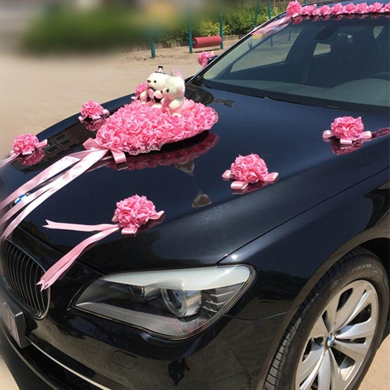 Свадебный автомобиль украшения Искусственные цветы Свадебные Декоративные цветы Пена розы шелк украшение оптовая продажа - 2