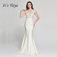 Это YiiYa белый Illusion Mermaid Бисер тафта рукавов Кристалл Вечерние труба торжественное платье пол Длина вечернее платье F001