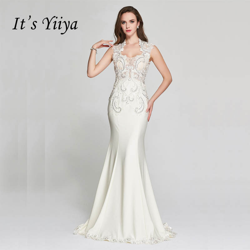 It's YiiYa White Illusion Mermaid Beading Taffeta Sleeveless Crystal Party Trumpet Formal   Dress   Floor Length   Evening     Dress   F001