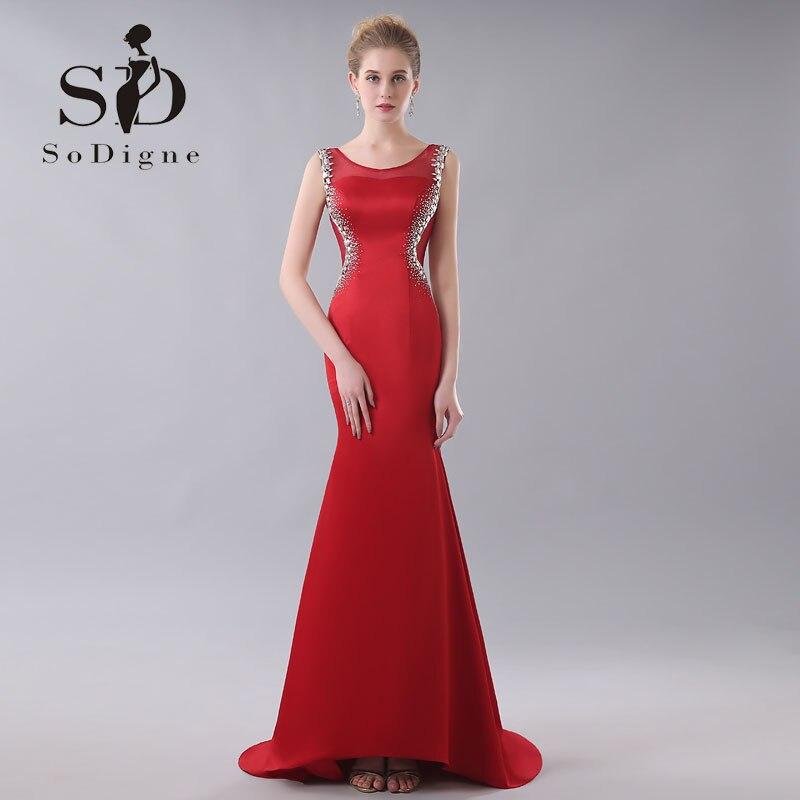 evening dress 2017 sodigne rhinestone fast shipping nude back vintage red abendkleider mermaid. Black Bedroom Furniture Sets. Home Design Ideas