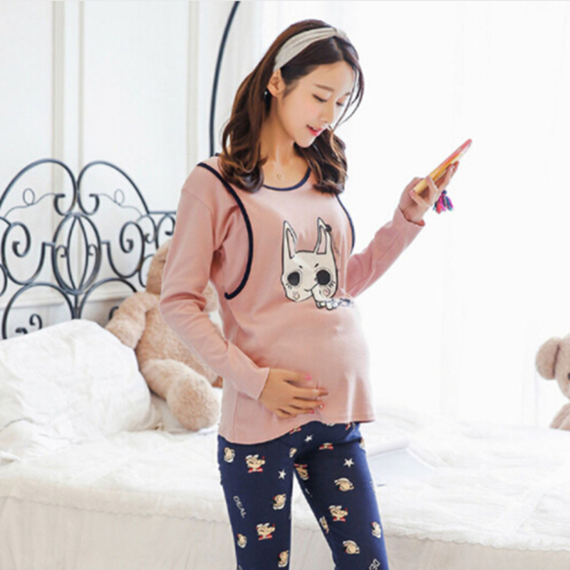 Maternity women  sleepwear  pajamas lovely Rabbit Nursing Autumn and Spring Tops Pants Breast Feeding Nightgown Clothes maternity pregnant women suit for breast feeding clothes pregnancy womens pajamas sets long sleeve pants 3 pieces striped style