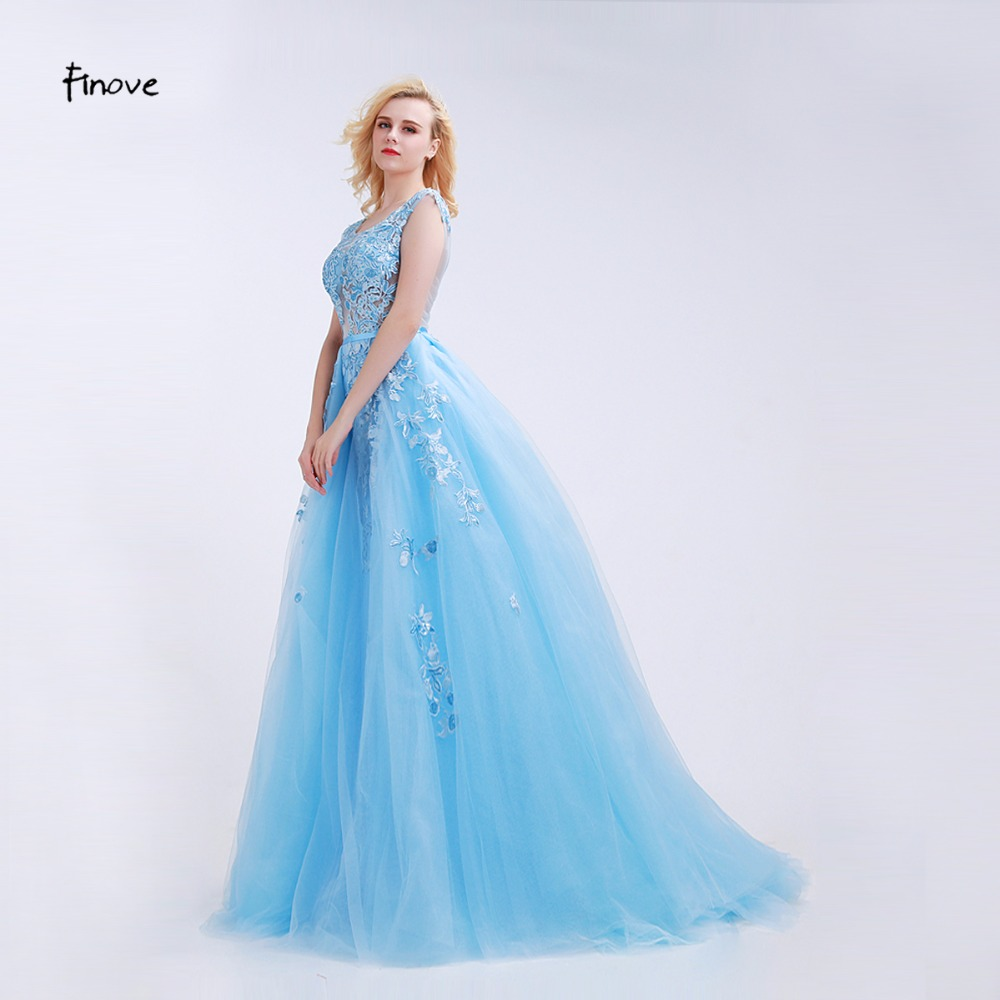 Finove Light Blue Prom Dresses See Through Tulle with Appliques and ...