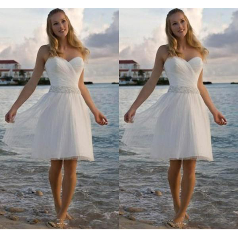 High Quality Sweetheart Rhinestone Tulle Casual Beach Wedding Dresses A Line Short Bridal Gowns Short Wedding Gowns Aliexpress