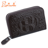 Zongshu Alligator Cow Genuine Leather Women Card Holders Girl Business Name Card Cover Casual ID Credit
