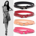 2016 New Womens Brand Luxury Fashion Stretchy Thin Rope Pink Bow Buckle Belts Length 80~100cm Wholesale Purchasing