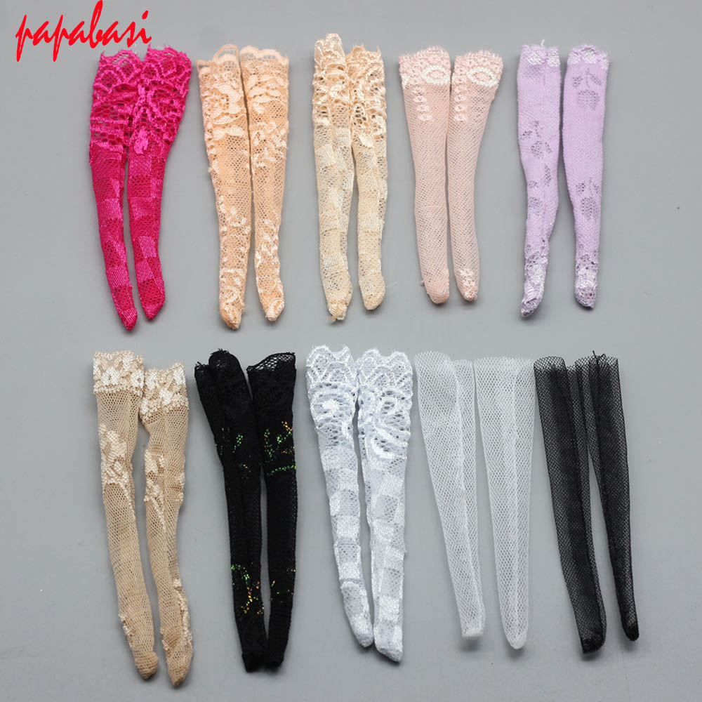 New Mix 3pairs/lot Fashion Colorful Lace Stocking Handmade Doll Intimate Accessories For 1/6 BJD Dress Dolls Gift For Baby Girls