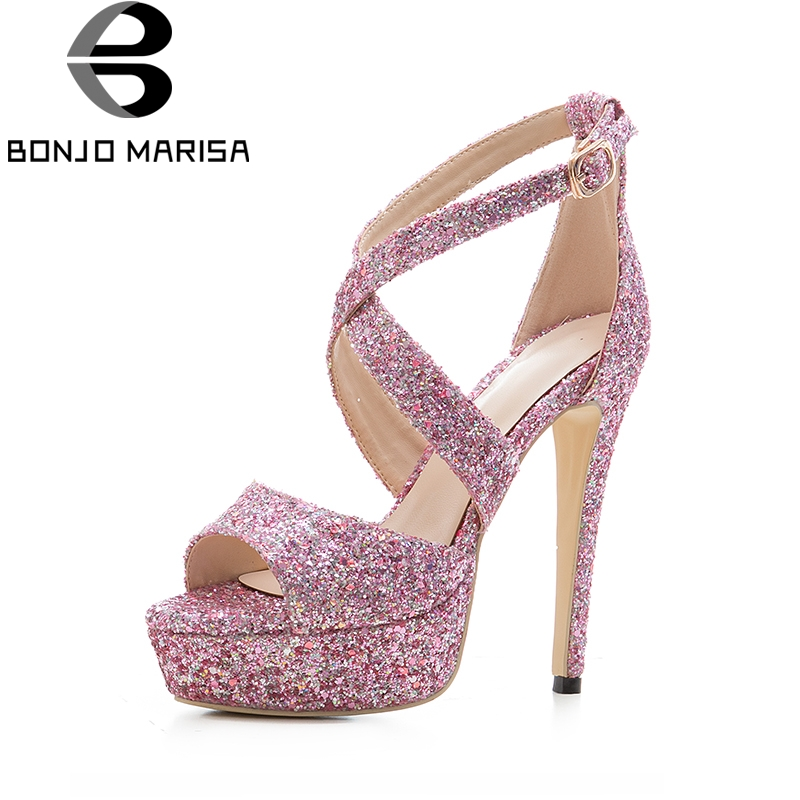 BONJOMARISA 2018 Big Size 33-43  Bling Upper Gladiator Summer Sandals Shoes Sexy Thin High Heels Platform Party Shoes Women hee grand gold silver high heels 2017 summer gladiator sandals sexy platform shoes woman casual shoes size 35 43 xwz4075