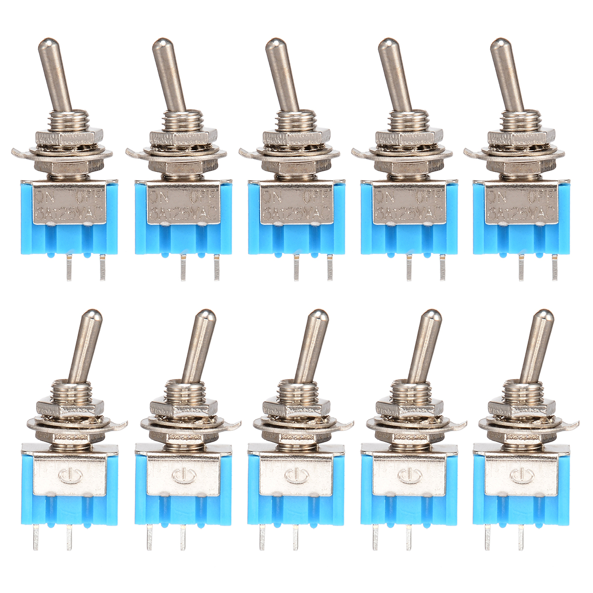 10pcs MTS-101 2 Pin SPST Switch ON-OFF 2 Position 6A 250V AC Mini Electrical Toggle Switches 6MM Mounting Hole Mayitr 10pcs dark blue 3 position spst latching switches mini on off on toggle switch 6a 125vac 3a 250vac for switching lights motors