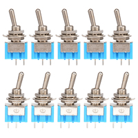 10pcs MTS-101 2 Pin SPST Switch ON-OFF 2 Position 6A 250V AC Mini Electrical Toggle Switches 6MM Mounting Hole Mayitr