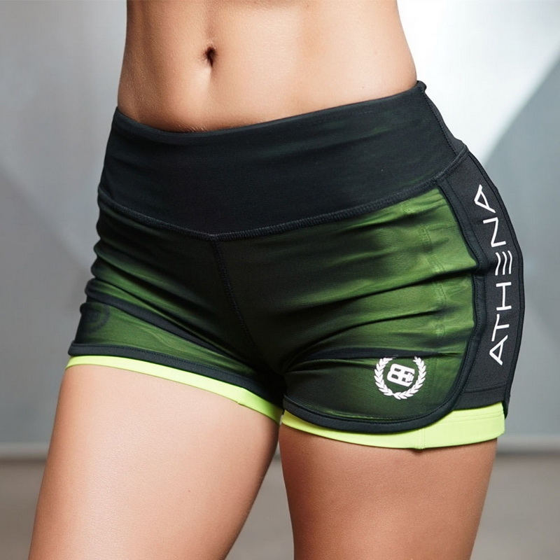 Women's sports fitness gym breathable mesh   shorts   pockets mention hip   shorts   sexy 2 In 1 running sports   shorts
