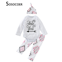 SOSOCOER Baby Girl Clothing Sets Letter Hello World Rompers Geometry Pants Caps Hats 3pcs Kids Clothes