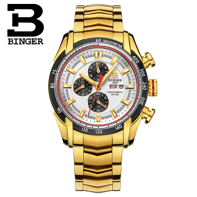 Brand Binger Luxury Men Watches Waterproof Japan Quartz Sports Watch Man Stainless Steel Clock Male Casual Military Wristwatch 2017 luxury brand binger date genuine steel strap waterproof casual quartz watches men sports wrist watch male luminous clock
