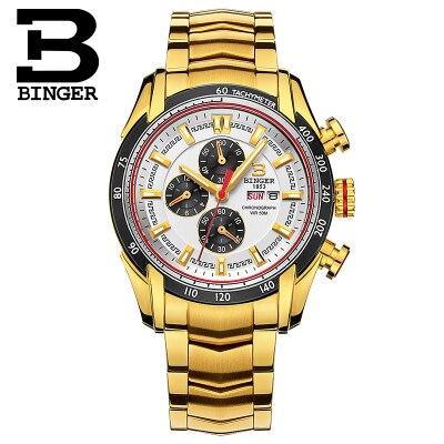 Marca Binger hombres de lujo relojes impermeables del cuarzo de Japón reloj  deportivo hombre de acero inoxidable reloj hombre casual Militar reloj bdcf424802d