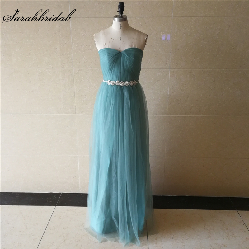 New Arrivals   Bridesmaid     Dresses   A Line Sleeveless Tulle Vestidos De Baile Sashes Customized Prom   Dresses   Gowns WT051
