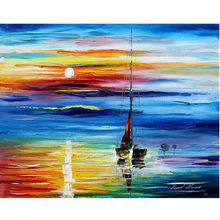 100% Hand Painted Wall Art Canvas Beautiful Sunrise On Sea Wall Decor Modern Abstract Oil Painting No Framed Home deco art deco modern abstract wall art painting on canvas no framed with the roll film d10 19
