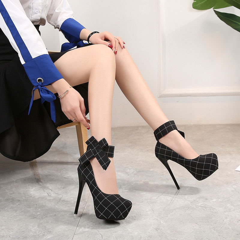 14 CM Heels Sweet Bow Knot High Heel Shoe Sexy Ladies Pumps Shoes Fashion Chunky Platform Heels Round Toe Ladies Wedding Shoes in Women 39 s Pumps from Shoes