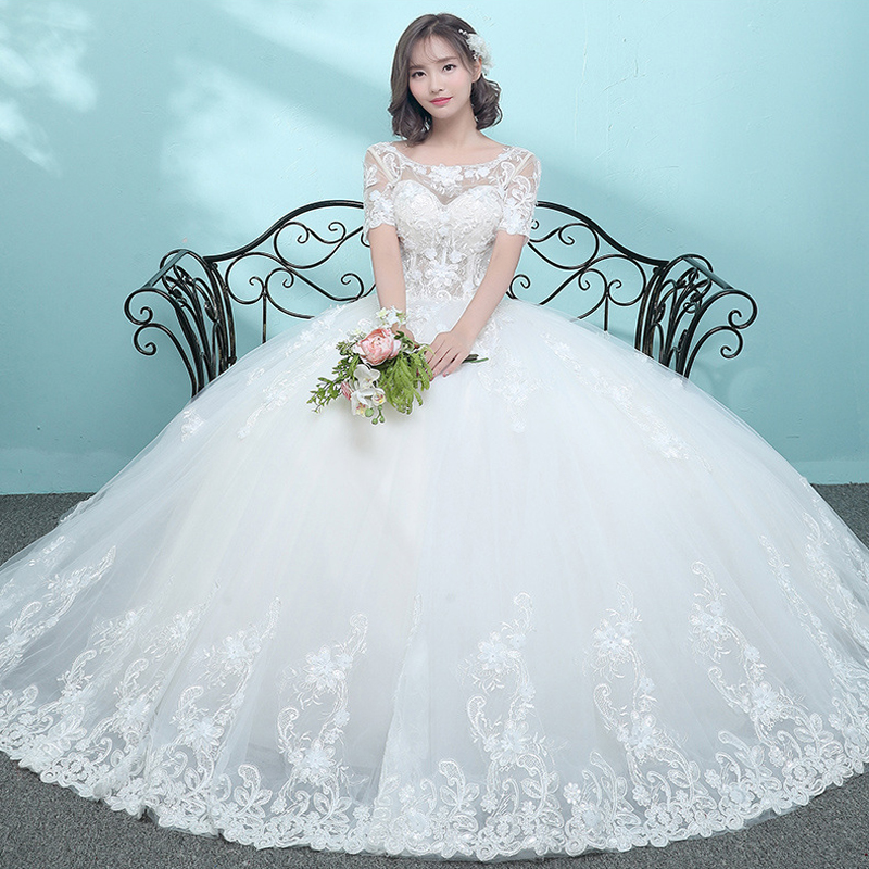 2018 New Sexy O-Neck Appliques Illusion Short Sleeves Lace Embroidery Wedding Dress Prinecess Wedding Gown Vestido De Noiva