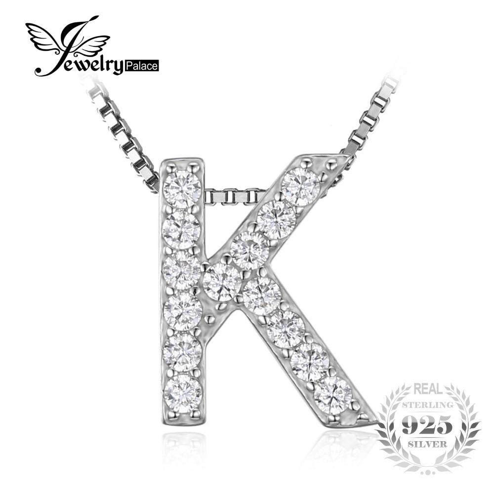 """JewelryPalace Letra """"K"""" Inicial 0.36ct Circonita Collar Colgante Verdadera Plata de Ley 925"""