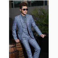 HOT New Men Slim Business Casual Suits Marriage Groom Formal Dress Host Stage Clothing Fashion Printed