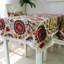 2017 New Fashion Rectangular tablecloth Auspicious Flowers Printed Table Cover Lace Edge Tablecloth For Wedding Cloth