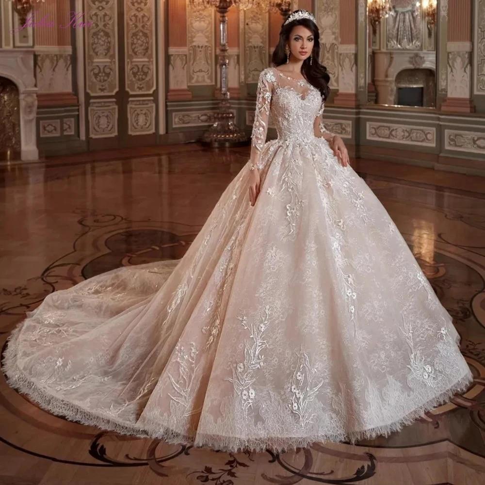 Julia Kui Penuh Lengan Organza Pernikahan Gaun Ball Gown Dengan Simetris Dekorasi Scoop Leher Gaun Pengantin Wedding Dresses Aliexpress