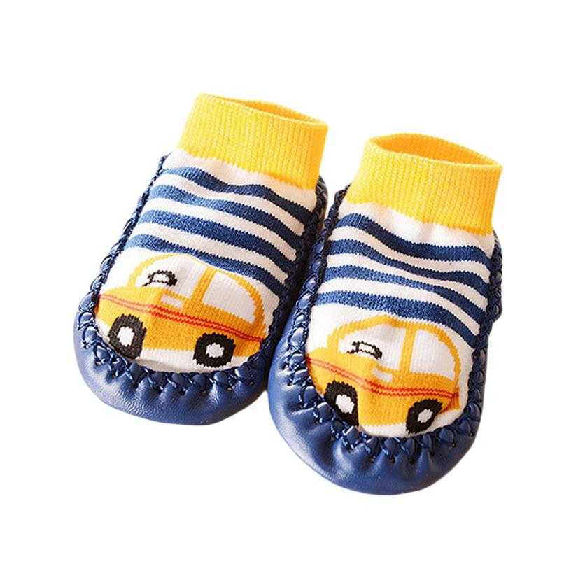 2018 Infant Cartoon Kids Booties Toddler Baby Anti-slip Sock Shoes Boots Slipper Socks 1204